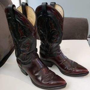 DAN POST  BLACK CHERRY LEATHER WESTERN COWBOY boot